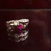 Edwardian 18K Toi et Moi Diamond/Ruby Ring(エドワーディアン 18K トワエモア ダイヤモンド/ルビー リング)