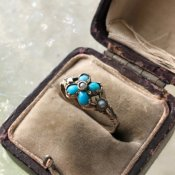 Georgian 18K Turquoise/Pearl Forget-me-not Ring(ジョージアン 18K ターコイズ/パール 忘れな草 リング)