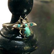 Victorian 9K Silver Turquoise Bee Ring(ヴィクトリアン 9K ターコイズ 蜂 リング)