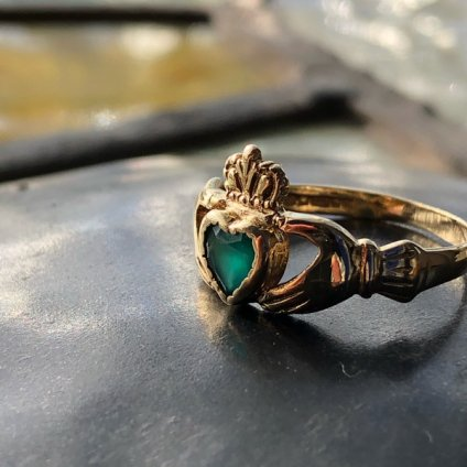 c.1989 9K Green Onyx Claddah Ring(1989年 9K グリーンオニキス クラダリング)