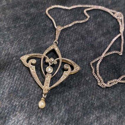 Edwardian 18K Diamond / Pearl Necklace(エドワーディアン 18K ダイヤモンド パール ネックレス)