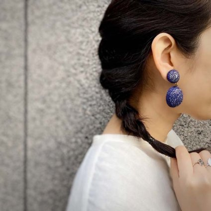 <img class='new_mark_img1' src='https://img.shop-pro.jp/img/new/icons20.gif' style='border:none;display:inline;margin:0px;padding:0px;width:auto;' />【30%OFF】Cilea PARIS GALAXY Navy Swing Earrings(シレアパリ ギャラクシー ネイビー スイングイヤリング)