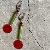 1930's Art Deco Celluloid Red Circle Earrings(1930年代 アールデコ セルロイド レッド サークル ピアス)