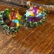 1950's Watermelon Tourmaline Glass Earrings(1950年代  ウォーターメロン トルマリン ガラス イヤリング)