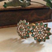 1940's 9K Emerald Pearl earrings(1940年代 9K エメラルド パール イヤリング)
