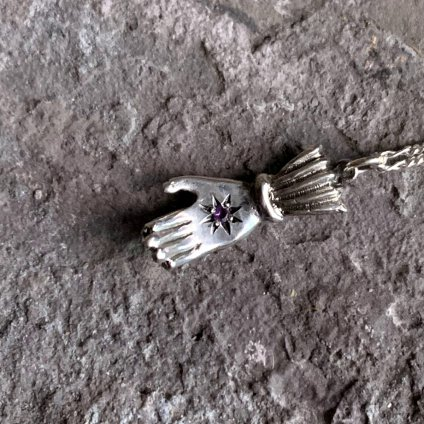 momocreatura Hand Necklace Amethyst(ハンドネックレス 燻しシルバー×アメジスト)