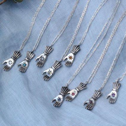 momocreatura Hand Necklace Sapphire(ハンドネックレス 燻しシルバー×サファイア)