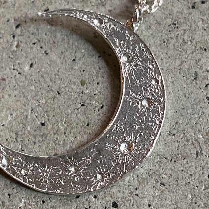 momocreatura Crescent Moon Ball Chain Necklace(三日月 ボールチェーンネックレス シルバー)