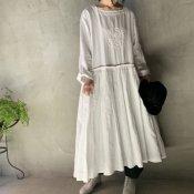 VINCENT JALBERT Pleats Dress - Embroidery - (ヴィンセント ジャルベール 刺繍 プリーツドレス)White