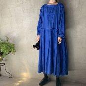 VINCENT JALBERT Pleats Dress - Embroidery - (ヴィンセント ジャルベール 刺繍 プリーツドレス)Klein Blue