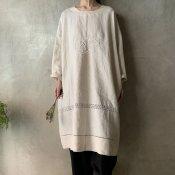 VINCENT JALBERT Pullover Dress - Embroidery - (ヴィンセント ジャルベール 刺繍 プルオーバードレス)Natural
