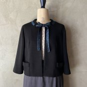 Vintage Black Jacket with Glitter Ribbon Tie(ヴィンテージ ラメリボン付き ジャケット)