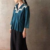1940~50's Vintage Blue Green Blouse(1940~50年代 ヴィンテージ ブルーグリーン ブラウス)