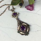 <img class='new_mark_img1' src='https://img.shop-pro.jp/img/new/icons13.gif' style='border:none;display:inline;margin:0px;padding:0px;width:auto;' />Edwardian Silver Amethyst Necklace(エドワーディアン シルバー アメシスト ネックレス)