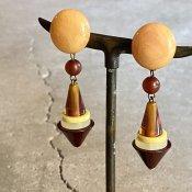 1960's French Bakelite Brown Pyramids Earrings(1960年代 フランス ベークライト ブラウン イヤリング)