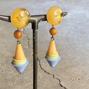 1960's French Bakelite Pastel Colour Pyramids Earrings(1960年代 フランス ベークライト パステルカラー イヤリング)