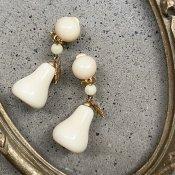 1950's French Galalith Pear Earrings(1950年代 フランス ガラリス 洋梨 イヤリング)