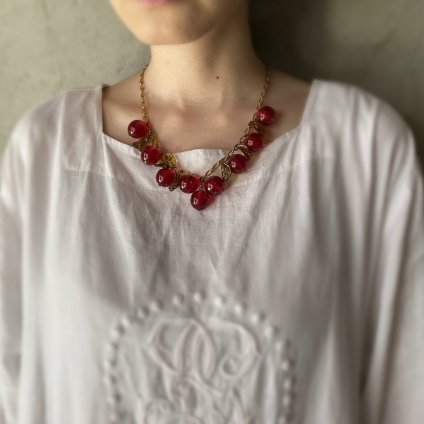 1960's French Clear Bakelite Red Cherry Necklace(1960年代 フランス クリアベークライトレッドチェリーネックレス)