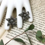 1930's Silver Marcasite Flower Earrings(1930年代 シルバー マーカサイト フラワーイヤリング)