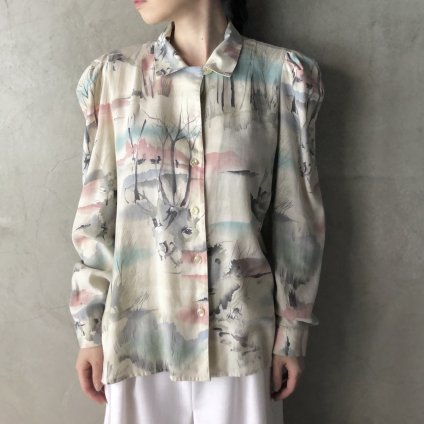 Vintage Watercolor Puff Sleeve Shirt(ヴィンテージ  水彩画プリント パフスリーブシャツ)
