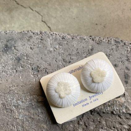 1950's Italian White Raffia with Flower Earrings(1950年代 イタリア ホワイトラフィア&フラワー イヤリング)DEAD STOCK