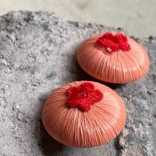 1950's Italian Pink Raffia with Flower Earrings(1950年代 イタリア ピンクラフィア&フラワー イヤリング)DEAD STOCK