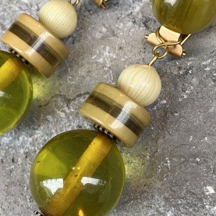 1960's French Bakelite&Galalith Green Earrings(1960年代 フランス ベークライト&ガラリス グリーン イヤリング)DEAD STOCK