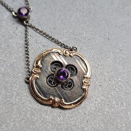 1930's Art Nouveau 9KPG Silver Amethyst Necklace(1930年代 アールヌーヴォーデザイン 9金 シルバー アメシスト ネックレス)