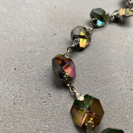 1950's Watermelon Tourmarine Glass Necklace(1950年代 ウォーターメロントルマリンガラス ネックレス)