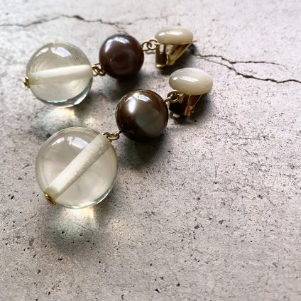 1960's French Lucite Clear&Grey Ball Earrings(1960年代 フランス ルーサイト クリア&グレー ボール イヤリング)DEAD STOCK