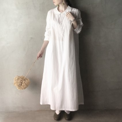 Antique Cotton Embroidery Round Collar Onepiece(アンティーク フランス コットン 刺繍 丸襟 ワンピース)