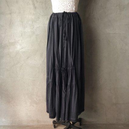 Antique Cotton Shirring Skirt(アンティーク フランス シャーリング スカート 後染め)