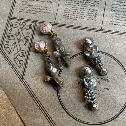 1940's French Louis Rousselet Purple Glass Earrings(1940年代 フランス ルイ・ロスレー パープル ガラス イヤリング)
