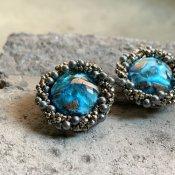 1950's French Louis Rousselet Blue Art Glass Earrings(1950年代 フランス ルイ・ロスレー ブルーアートガラス イヤリング)
