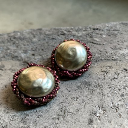 1950's French Louis Rousselet Gray Pearll Earrings(1950年代 フランス ルイ・ロスレー グレーパール イヤリング)