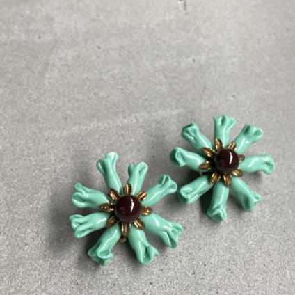 1950's Turquoise Green / Brown Glass Flower Earrings(1950年代 ターコイズグリーン ブラウンガラス フラワー イヤリング)