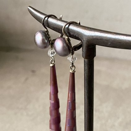 1920-30's French  Glass Earrings(1920〜30年代  フランス  ガラスピアス)