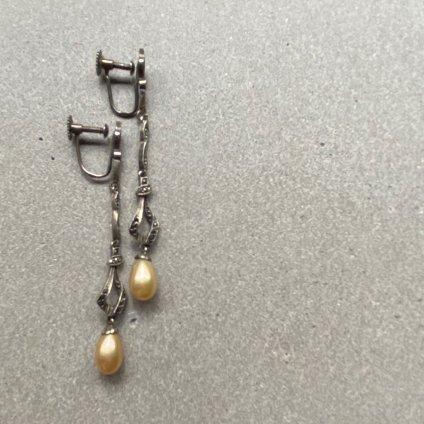 1930's Silver Marcasite Pearl Earrings(1930年代 シルバー マーカサイト パール イヤリング)