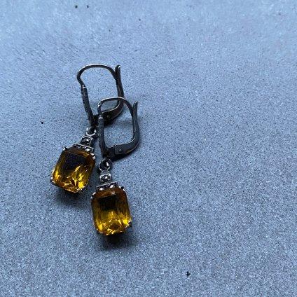1930's Art Deco Glass Marcasite Earrings( 1930年代  アールデコ ガラス マーカサイト ピアス)