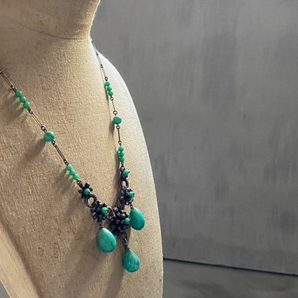 1930's Louis Rousselet Peking Glass Metal Flower Necklace( 1930年代 ルイ ロスレー ペキンガラス メタルフラワー ネックレス)