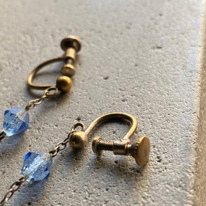 1930's Art Deco Blue Glass Earrings( 1930年代  アールデコ ブルーガラス イヤリング)