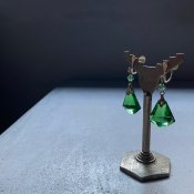 1930's Crystal Green Glass Earrings( 1930年代  クリスタルグリーンガラス イヤリング)