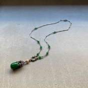 1950's Louis Rousselet Dark Green Glass Necklace( 1950年代 ルイ ロスレー ダークグリーン ガラス ネックレス)