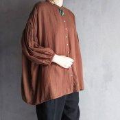 ikkuna/suzuki takayuki balloon-sleeve blouse(イクナ/スズキタカユキ バルーンスリーブ ブラウス)Walnut