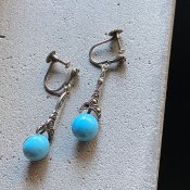 1930's Silver Turquoise Glass Earrings(1930年代 シルバー ターコイズ ガラス イヤリング)
