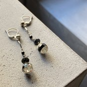 <img class='new_mark_img1' src='https://img.shop-pro.jp/img/new/icons13.gif' style='border:none;display:inline;margin:0px;padding:0px;width:auto;' />1930's France Dead stock Glass Earrings(1930年代 フランス デッドストック ガラス ピアス)Clear Black