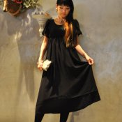 Layerd Black Dress (シフォン ワンピースドレス)