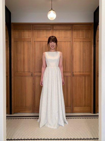 ボートネックシャギースカートドレス