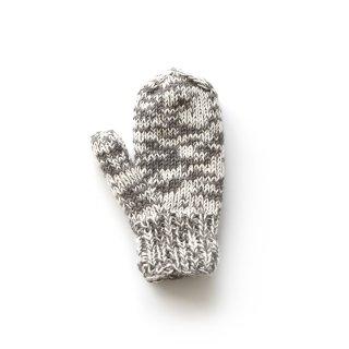 フェアトレード/手袋 ミトンタイプ / グレー&ホワイト