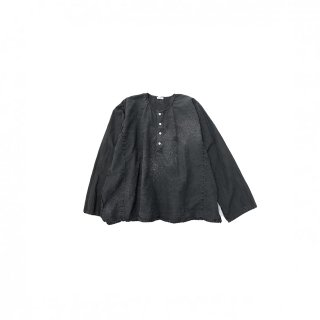 quitan / Henley Shirt - Cotton / Silk Khadi / BLACK